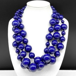 Kenneth Lane Blue Beaded Chunky Statement Necklace